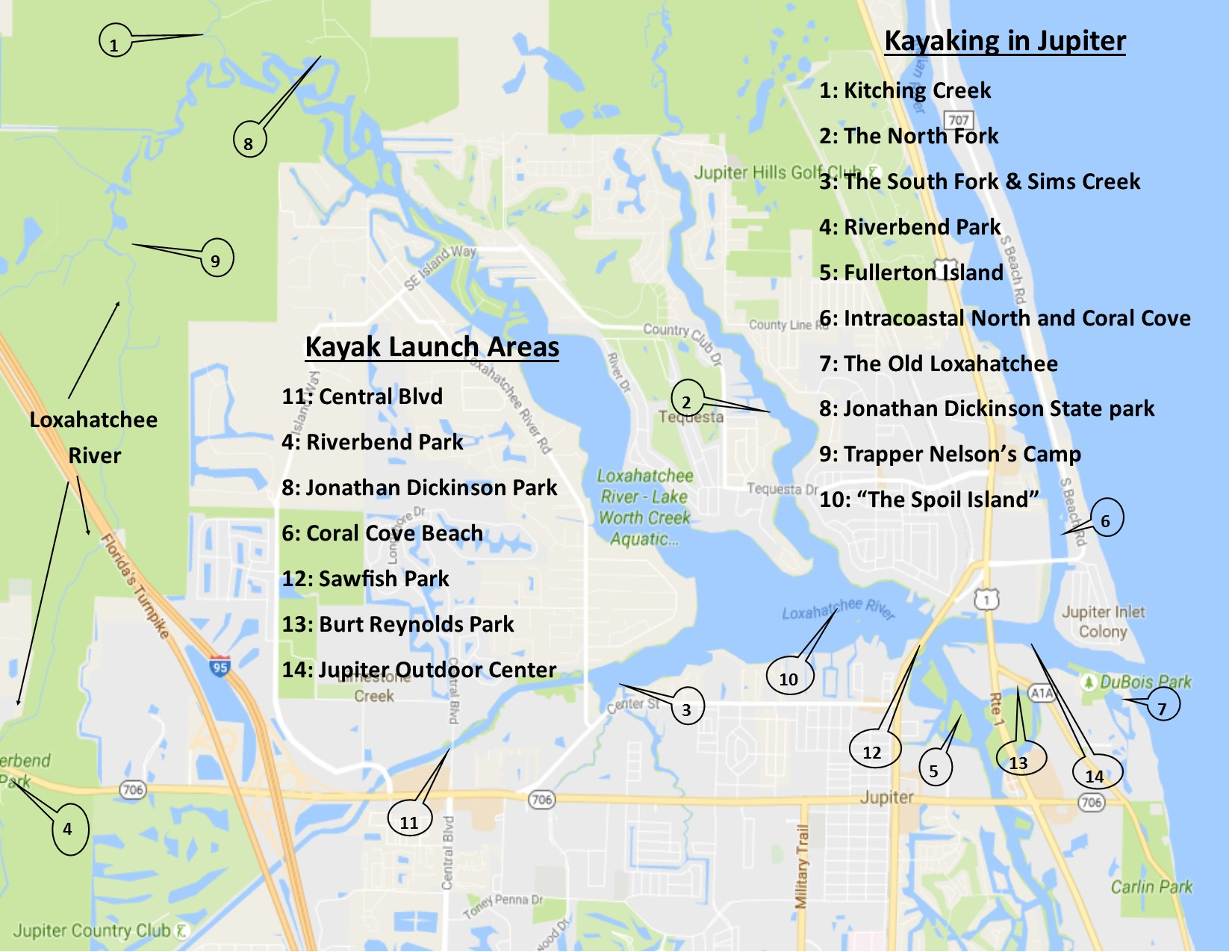 Places to Kayak Jupiter